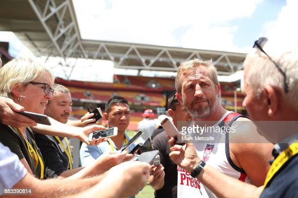 England assistant coach Denis Betts talks to media during a England training session at Suncorp Stadium on December 1 2017 in Brisbane Australia