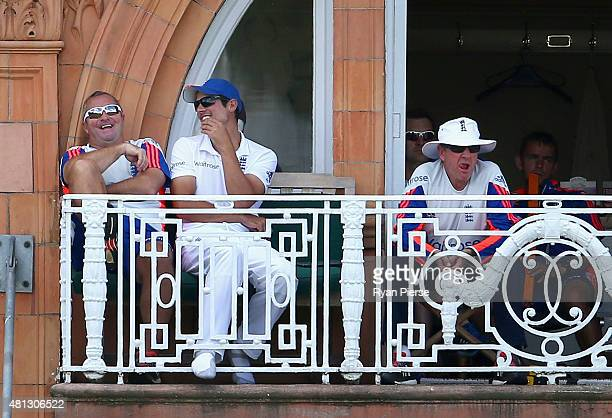 England assistant coach Paul Farbrace Alastair Cook of England and England coach Trevor Bayliss look on during day four of the 2nd Investec Ashes...