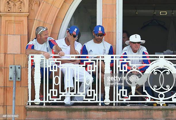 England assistant coach Paul Farbrace Alastair Cook of England England Batting coach Mark Ramprakash and England coach Trevor Bayliss look on during...