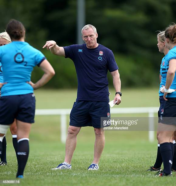 England assistant coach Simon Middleton talks to the team during the England Captain's Run for the IRB Women's Rugby World Cup 2014 at Stade...