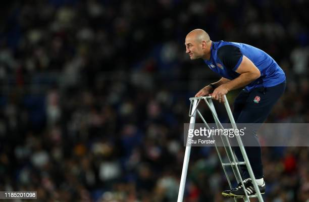 England assistant coach Steve Borthwick on lookout from his step ladders during the warm up before the Rugby World Cup 2019 Final between England and...