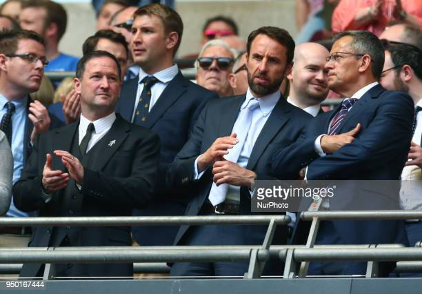 LR England Assistant Manager Steve Holland and England Manager Gareth Southgate and Martin Glenn Chief Executive Officer of the FA during the FA Cup...