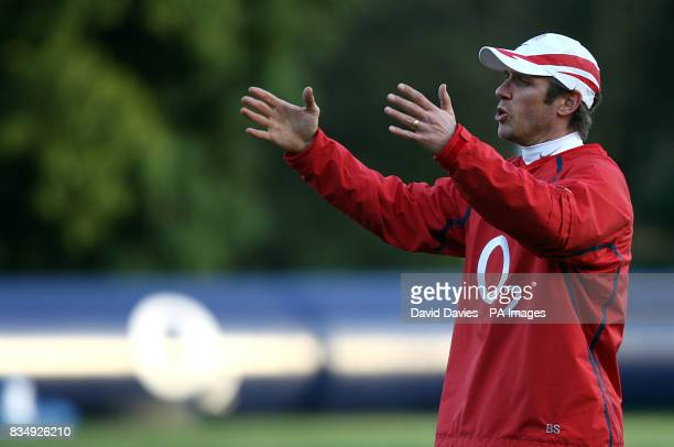 England attack coach Brian Smith during a training session at Pennyhill Park Surrey