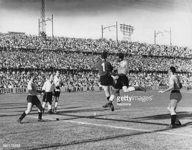 England attack during their quarter final match against Uruguay in the 1954 World Cup St Jakob Stadium Basel 27th June 1954 England lost 42