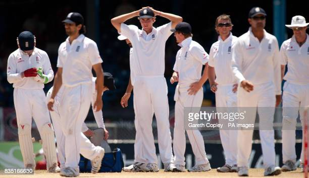 England await the referral after Graeme Swann dismissed West Indies's West Indies's Shivnarine Chanderpaul he was found not out after the referral...