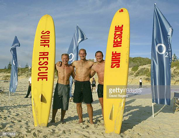 England back row of Neil Back Lawrence Dallaglio and Richard Hill at the O2 Beach Party at North Cottesloe Beach on October 10 2003 in Perth Australia