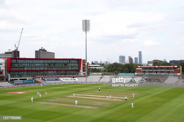 England bat in overcast conditions in the evening session on the first day of the third Test cricket match between England and the West Indies at Old...