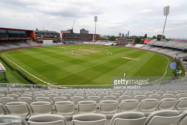 England bat in overcast conditions inside the empty ground in the evening session on the first day of the third Test cricket match between England...