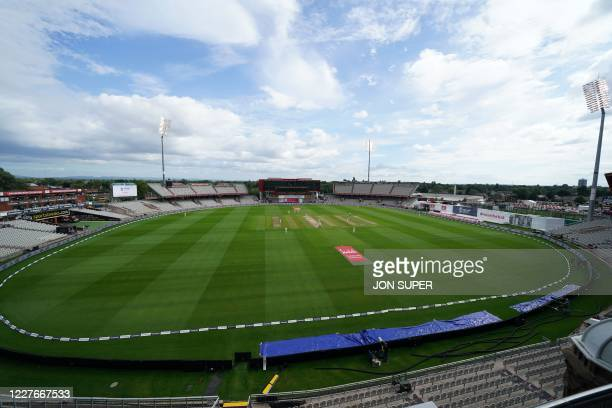 England bat on after tea in the empty ground under a partly cloudy sky on the second day of the second Test cricket match between England and the...