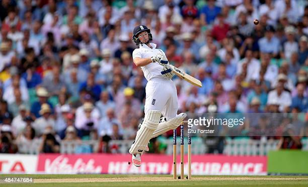 England batsman Adam Lyth avoids a short ball from Mitchell Starc during day two of the 5th Investec Ashes Test match between England and Australia...