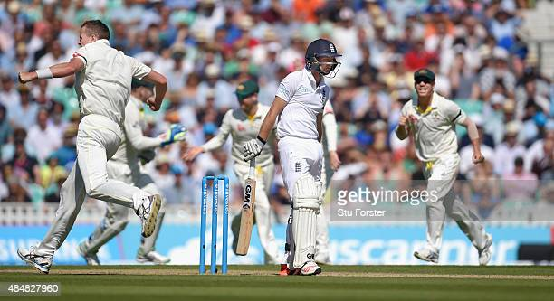 England batsman Adam Lyth reacts after being dismissed by Peter Siddle during day three of the 5th Investec Ashes Test match between England and...
