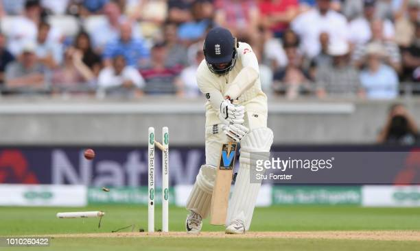 England batsman Adil Rashid is bowled by India bowler Umesh Yadav during day 3 of the First Specsavers Test Match at Edgbaston on August 3 2018 in...