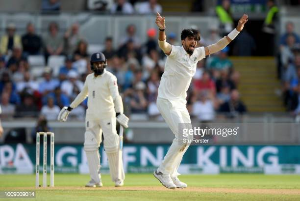 England batsman Adil Rashid is out lbw after appeal to the bowling of Ishant Sharma during day one of the First Specsavers Test Match between England...
