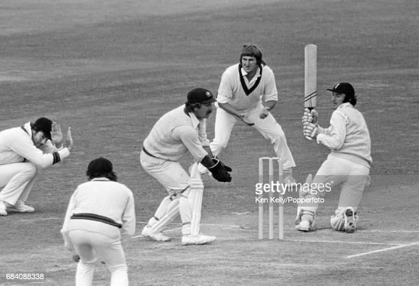 England batsman Alan Knott plays the ball past Australia wicketkeeper Rod Marsh during the 1st Test match between England and Australia at Edgbaston...