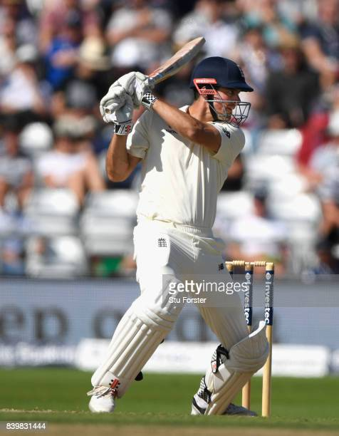 England batsman Alastair Cook cuts a short ball during day three of the 2nd Investec Test match between England and West Indies at Headingley on...