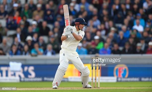 England batsman Alastair Cook cuts to the boundary during day one of the 4th Investec Test match between England and South Africa at Old Trafford on...