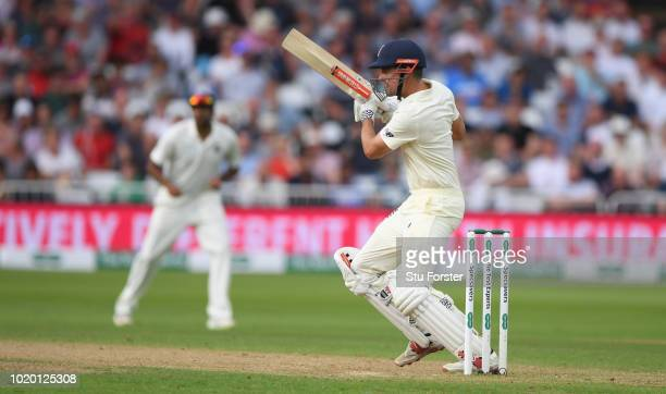 England batsman Alastair Cook drives during day four of the 3rd Test Match between England and India at Trent Bridge on August 20 2018 in Nottingham...