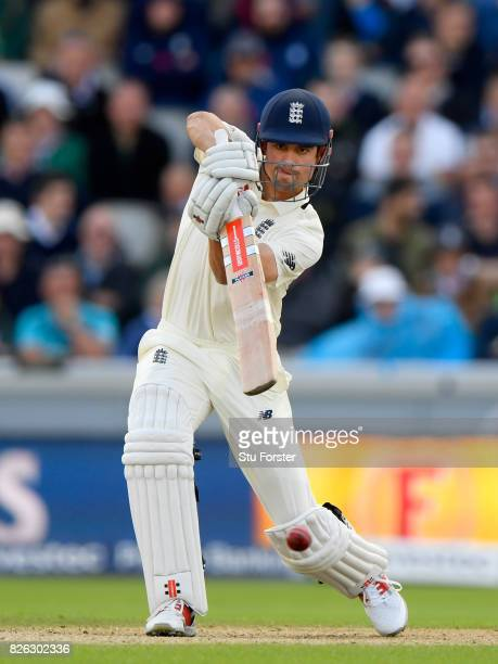 England batsman Alastair Cook drives during day one of the 4th Investec Test match between England and South Africa at Old Trafford on August 4 2017...