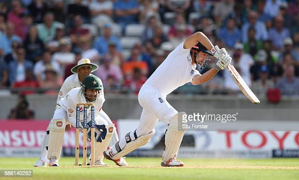 England batsman Alastair Cook hits out during day 3 of the 3rd Investec Test Match between Engand and Pakistan at Edgbaston on August 5 2016 in...