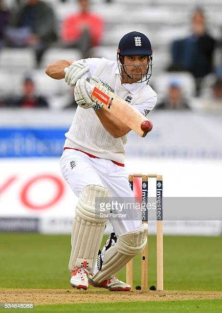 England batsman Alastair Cook hits out during day one of the 2nd Investec Test match between England and Sri Lanka at Emirates Durham ICG on May 27,...