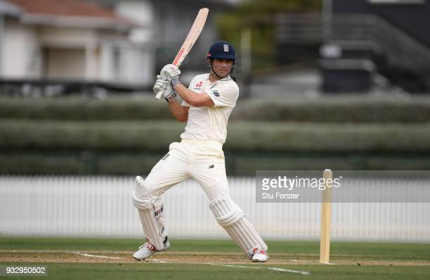 England batsman Alastair Cook hits out during day two of the Test warm up match between England and New Zealand Cricket XI at Seddon Park on March...