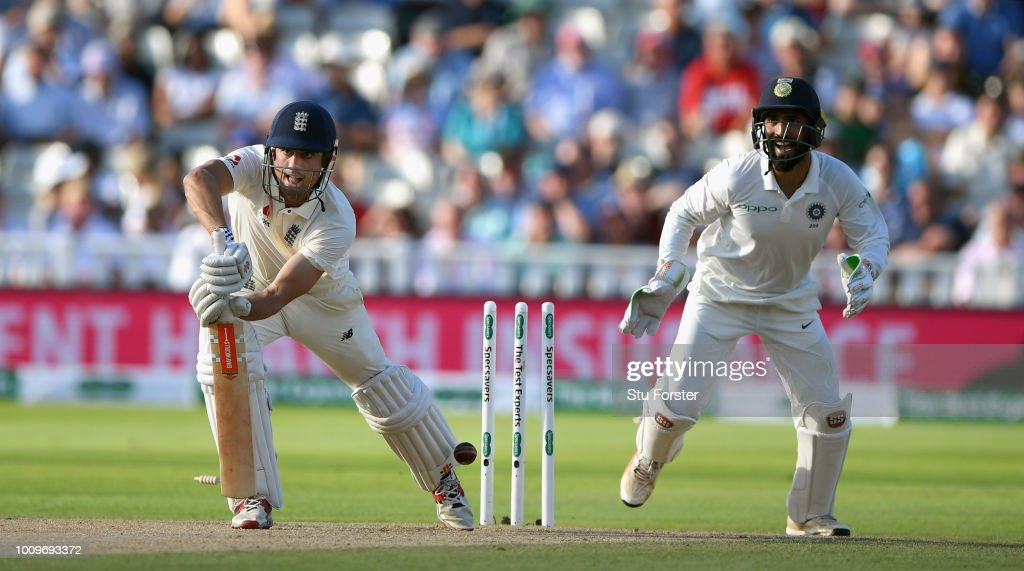 England batsman Alastair Cook is bowled by Ashwin during day two of the First Specsavers Test Match between England and India at Edgbaston on August 2, 2018 in Birmingham, England.