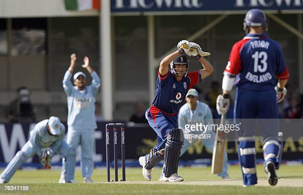 England batsman Alastair Cook leaves ball from India' bowler Zaheer Khan at EdgbastonBirmingham central England 27 August 2007 during the Natwest One...