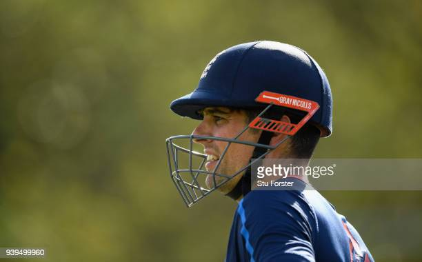 England batsman Alastair Cook looks on during England nets ahead of the second test match against the New Zealand Black Caps at Hagley Oval on March...