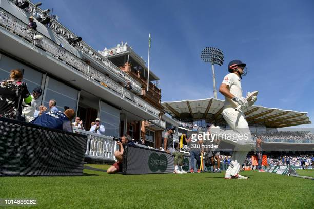 England batsman Alastair Cook runs out to bat before Day 3 of the 2nd Test Match between England and India at Lord's Cricket Ground on August 11 2018...