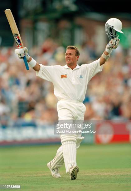 England batsman Alec Stewart celebrates after completing his century during the first innings of the 2nd Test match against Pakistan at Headingley in...