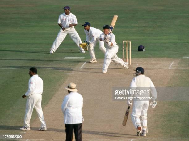 England batsman Alec Stewart drives a delivery from Sri Lanka bowler Aravinda de Silva during the only Test match between England and Sri Lanka at...