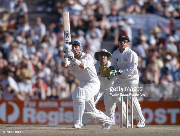 England batsman Alec Stewart hits out during the 5th Test match between Australia and England at the Sydney Cricket Ground Sydney 4th January 1999...