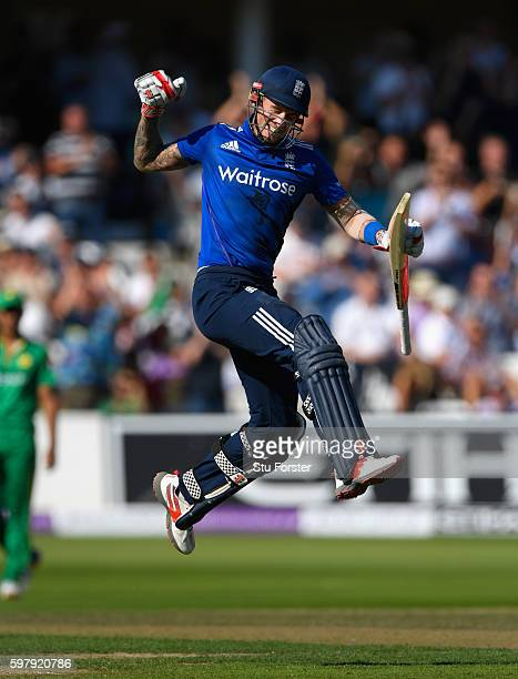 England batsman Alex Hales celebrates his century during the 3rd One Day International between England and Pakistan at Trent Bridge on August 30,...