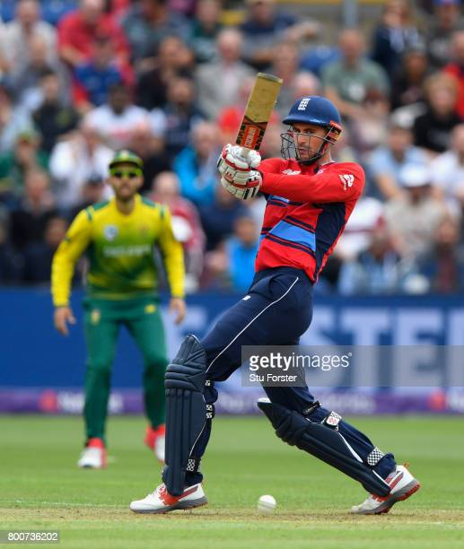England batsman Alex Hales hits out during the 3rd NatWest T20 International between England and South Africa at SWALEC Stadium on June 25 2017 in...