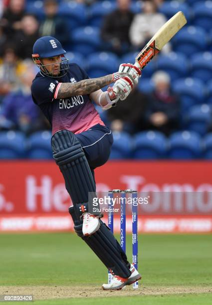 England batsman Alex Hales hits out during the ICC Champions Trophy match between England and New Zealand at SWALEC Stadium on June 6 2017 in Cardiff...