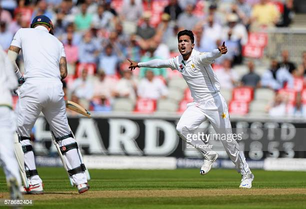 England batsman Alex Hales is dismissed by Pakistan bowler Mohammad Amir during day one of the 2nd Investec Test match between England and Pakistan...