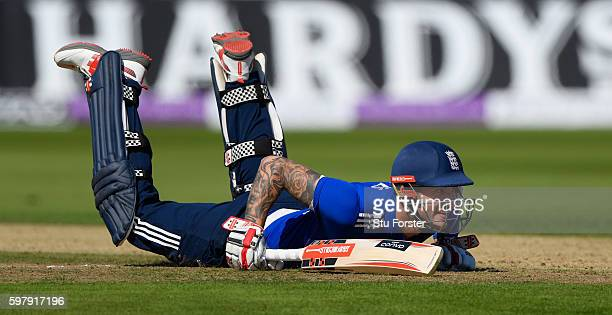 England batsman Alex Hales raises a smile after diving to reagain his ground during the 3rd One Day International between England and Pakistan at...