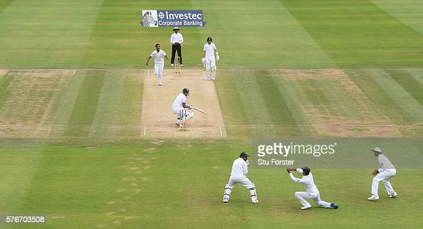 England batsman Alex Hales reacts as he is caught off the bowling dismissed by Rahat Ali during day four of the 1st Investec Test match between...