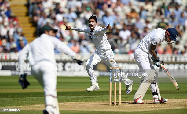 England batsman Alex Hales reacts as Mohammad Amir celebrates after being caught at slip during day 4 of the 3rd Investec Test match between England...