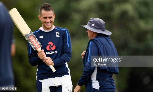 England batsman Alex Hales with coach Trevor Bayliss during nets ahead of the 2nd ODI at the Bay Oval on February 27, 2018 in Tauranga, New Zealand.