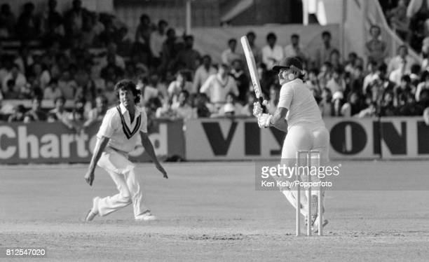 England batsman Allan Lamb hits a delivery from Pakistan bowler Imran Khan for runs during his innings of 118 in the 1st Prudential Trophy One Day...