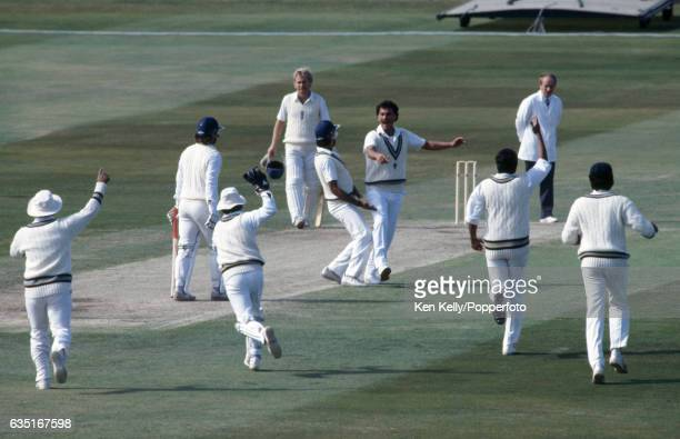 England batsman Allan Lamb is caught by Indian wicketkeeper Kiran More off the bowling of Roger Binny for 10 runs in the 2nd Test match between...