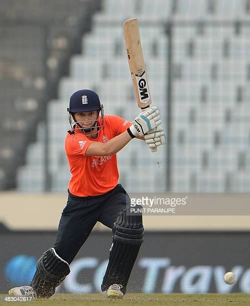 England batsman Amy Jones plays a shot during the ICC Women's World Twenty20 final cricket match between Australia and England at The ShereBangla...