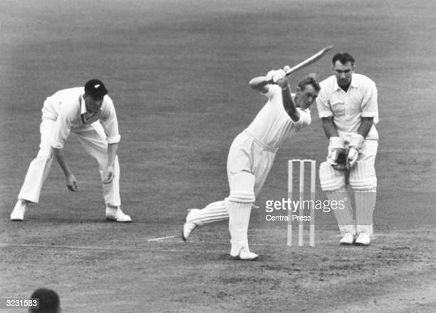 England batsman and Wisden Cricketer of the Year 1957 Peter Richardson playing against New Zealand in the 2nd Test at Old Trafford