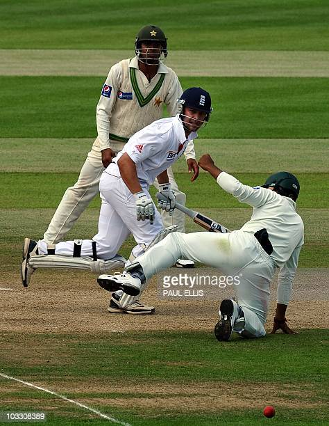 England batsman Andrew Strauss adds runs against Pakistan on the fourth day of the second Test match at Edgbaston in Birmingham central England on...