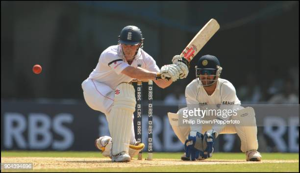 England batsman Andrew Strauss attempts a sweep shot during his innings of 123 in the 1st Test match between India and England at MA Chidambaram...