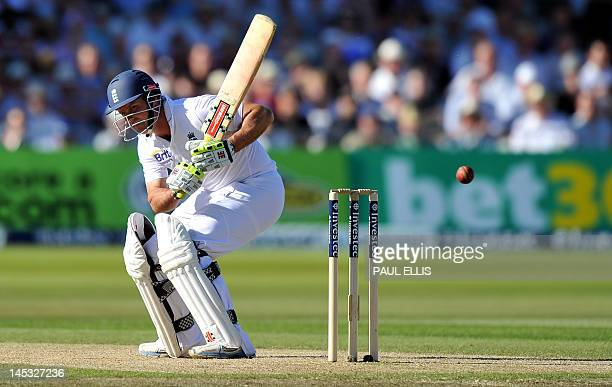 England batsman Andrew Strauss avoids a ball on the second day of the second Test match between England and West Indies at Trent Bridge in Nottingham...