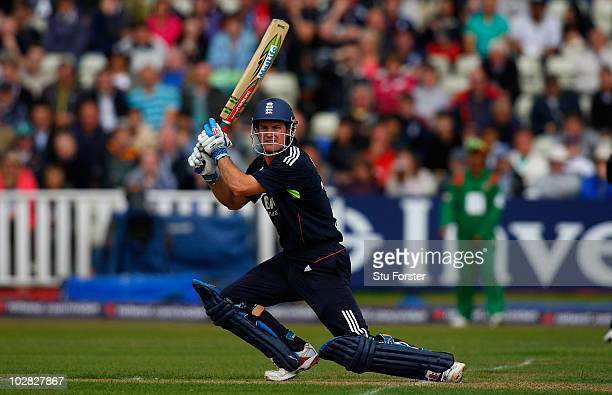 England batsman Andrew Strauss cuts a ball to the boundary during the 3rd NatWest ODI between England and Bangladesh at Edgbaston on July 12, 2010 in...