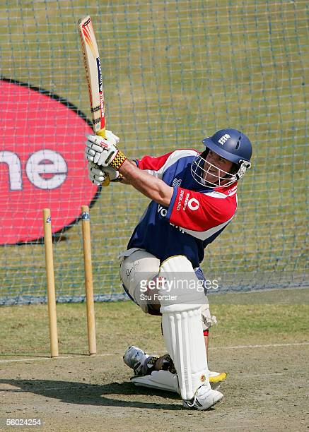 England batsman Andrew Strauss hits out during England Nets at the Rawalpindi Cricket Stadium on October 28 2005 in Islamabad Pakistan