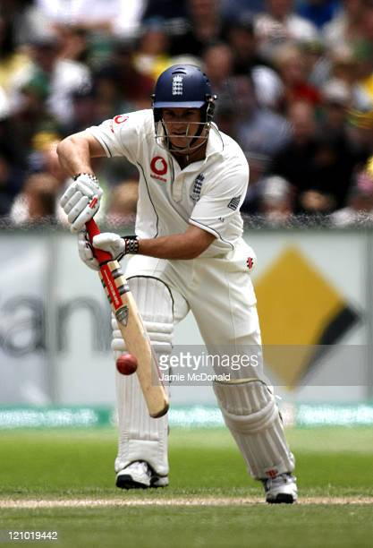 England batsman Andrew Strauss in Day Three of the Fourth Ashes Test at the Melbourne Cricket Ground Australia December 28 2006 Australia leads the...